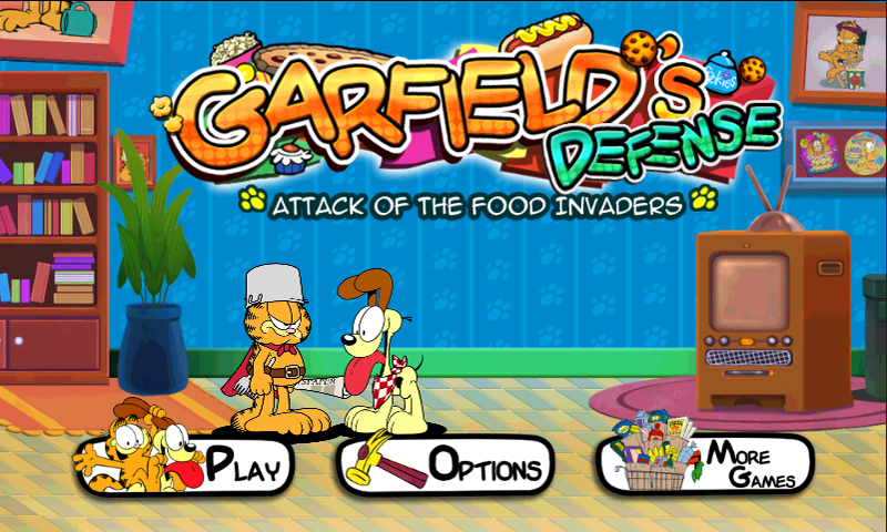 Web Prancer Garfield S Defense Attack Of The Food Invaders Launched For Android